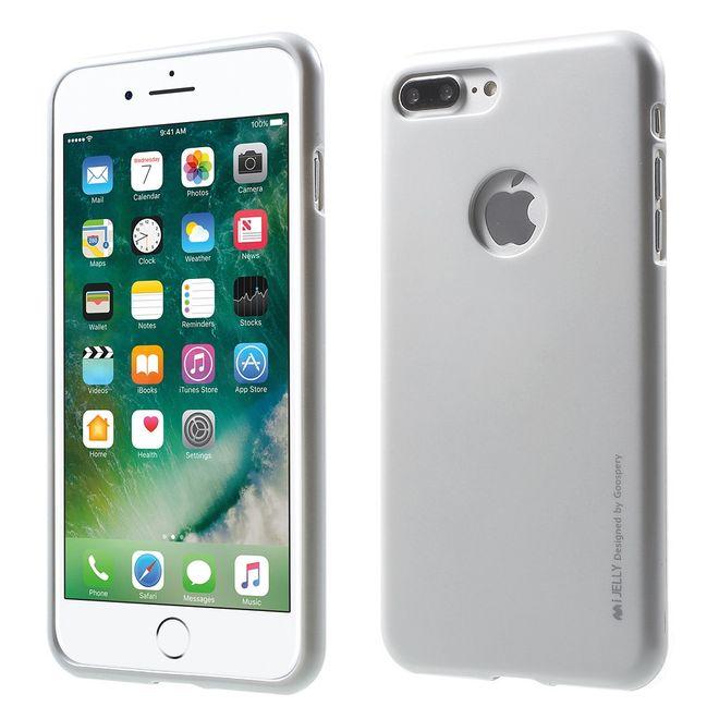 Goospery Mercury Goospery - Handy Schutzhülle für iPhone 8 Plus / 7 Plus - Cover aus elastischem Gummi - i Jelly Series (Hole) - silber