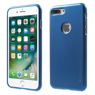 Mercury Goospery - Handy Schutzhülle für iPhone 8 Plus / 7 Plus - Cover aus elastischem Gummi - i Jelly Series (Hole) - blau
