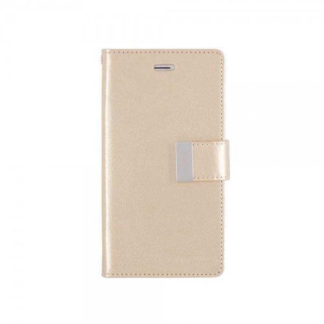 Goospery Mercury Goospery - Cover für Samsung Galaxy A7 (2016 Edition) - Handyhülle aus Leder - Rich Diary Series - gold/gold