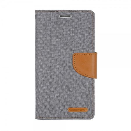 Mercury Goospery - Flipcase Hülle für LG Stylus 2/G Stylo 2 - Hülle aus Leder/Stoff- Canvas Diary Series - grau/camel