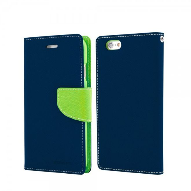 Goospery Goospery - Samsung Galaxy Note 2 Hülle - Handy Bookcover - Fancy Diary Series - navy/lime