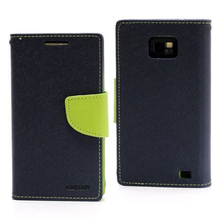 Mercury Goospery - Samsung Galaxy S2 Hülle - Handy Bookcover - Fancy Diary Series - navy/lime
