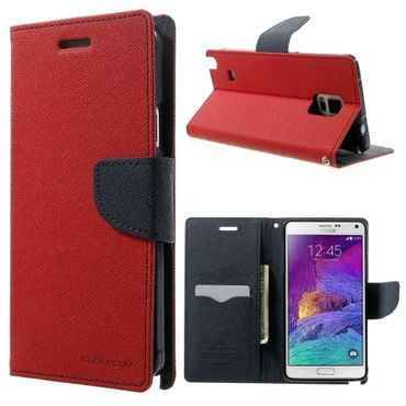 Mercury Goospery - Handy Cover für Samsung Galaxy Note 4 - Handyhülle aus Leder - Fancy Diary Series - rot/navy