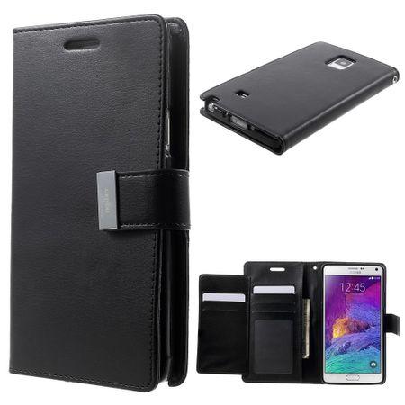Goospery - Cover für Samsung Galaxy Note 4 - Handyhülle aus Leder - Rich Diary Series - schwarz