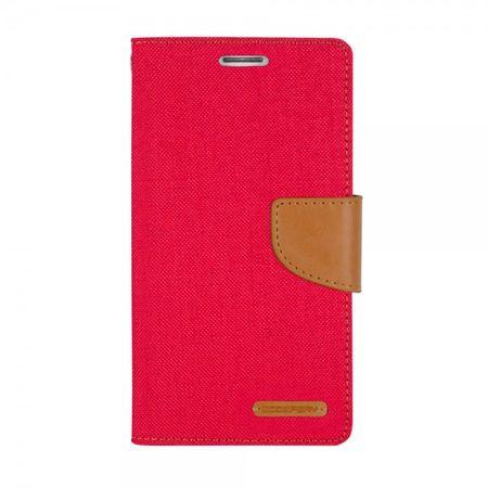 Mercury Goospery - Flipcase Hülle für Samsung Galaxy S5  - Hülle aus Leder/Stoff- Canvas Diary Series - rot/camel