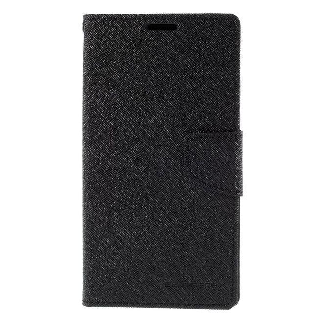 Goospery Mercury Goospery - Handy Cover für Samsung Galaxy Note 5 - Handyhülle aus Leder - Fancy Diary Series - schwarz/schwarz