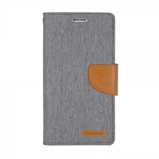 Goospery Mercury Goospery - Flipcase Hülle für Samsung Galaxy A7 (2016 Edition) - Hülle aus Leder/Stoff- Canvas Diary Series - grau/camel