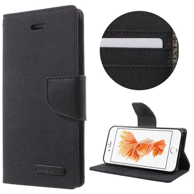 Goospery Mercury Goospery - Flipcase Hülle für iPhone 8 / 7 - Hülle aus Leder/Stoff- Canvas Diary Series - schwarz