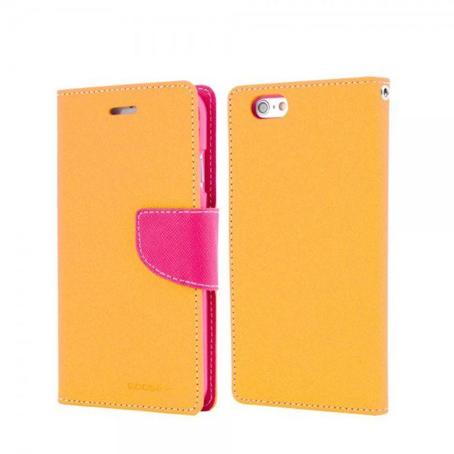 Goospery Mercury Goospery - Handy Cover für Samsung Galaxy J7 - Handyhülle aus Leder - Fancy Diary Series - gelb/rosa