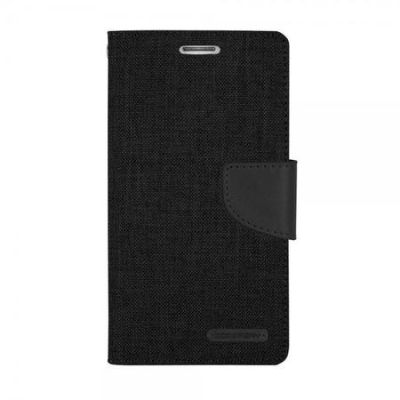 Mercury Goospery - Flipcase Hülle für Samsung Galaxy Alpha - Hülle aus Leder/Stoff- Canvas Diary Series - schwarz/schwarz