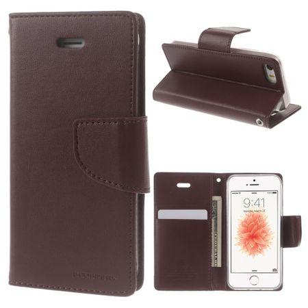 Goospery - Handyhülle für iPhone 5/5S/SE - Case aus Leder - Bravo Diary Series - weinrot