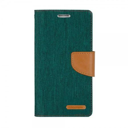 Mercury Goospery - Flipcase Hülle für iPhone 5/5S/SE - Hülle aus Leder/Stoff- Canvas Diary Series - grün/camel