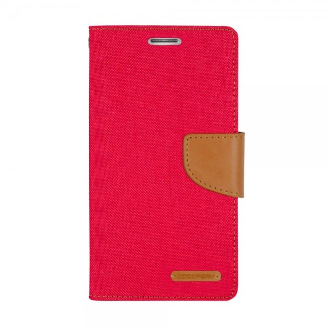 Goospery Goospery - Hülle für Samsung Galaxy Note Edge  - Bookcover- Canvas Diary Series - rot/camel