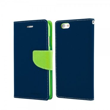 Mercury Goospery - Handy Cover für Samsung Galaxy Note 1 - Handyhülle aus Leder - Fancy Diary Series - navy/lime