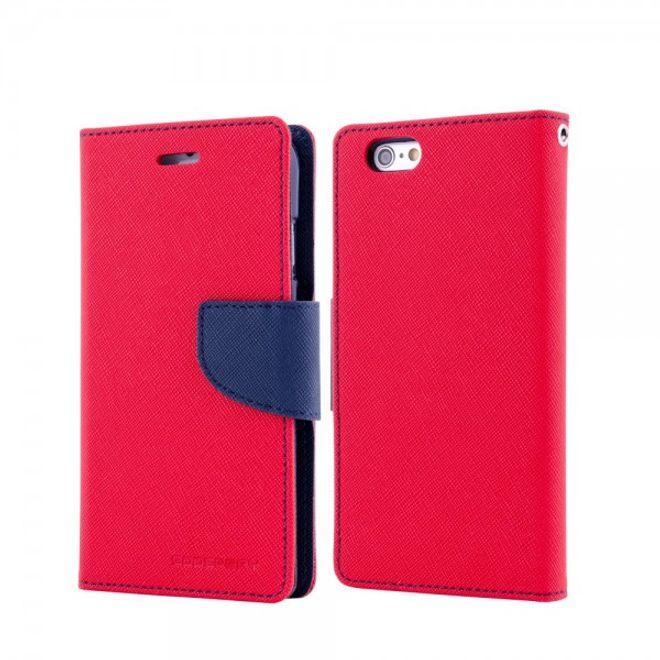 Goospery Mercury Goospery - Handy Cover für Samsung Galaxy Note 1 - Handyhülle aus Leder - Fancy Diary Series - rot/navy