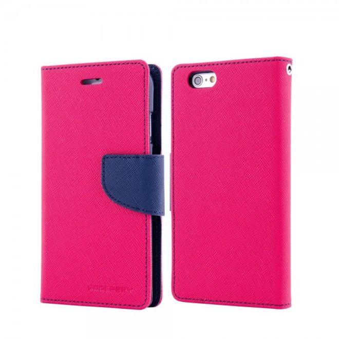 Goospery Mercury Goospery - Handy Cover für Samsung Galaxy Note Edge - Handyhülle aus Leder - Fancy Diary Series - rosa/navy