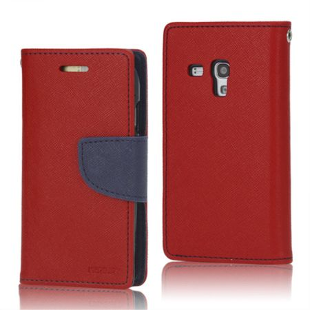 Mercury Goospery - Handy Cover für Samsung Galaxy S3 Mini - Handyhülle aus Leder - Fancy Diary Series - rot/navy
