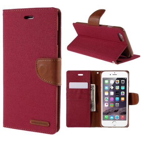 Mercury Goospery - Flipcase Hülle für iPhone 6 Plus/6S Plus - Hülle aus Leder/Stoff- Canvas Diary Series - rot/camel
