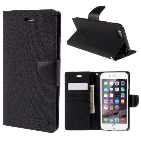 Mercury Goospery - Flipcase Hülle für iPhone 6 Plus/6S Plus - Hülle aus Leder/Stoff- Canvas Diary Series - schwarz