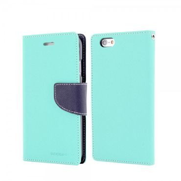 Mercury Goospery - Handy Cover für iPhone 6 Plus/6S Plus - Handyhülle aus Leder - Fancy Diary Series - mint/navy