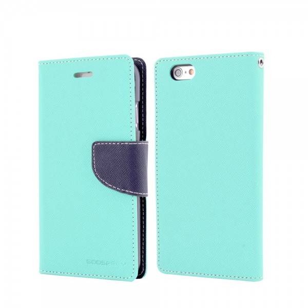 Goospery Mercury Goospery - Handy Cover für iPhone 6 Plus/6S Plus - Handyhülle aus Leder - Fancy Diary Series - mint/navy
