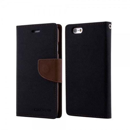 Mercury Goospery - Handy Cover für iPhone 8 Plus / 7 Plus - Handyhülle aus Leder - Fancy Diary Series - schwarz/braun
