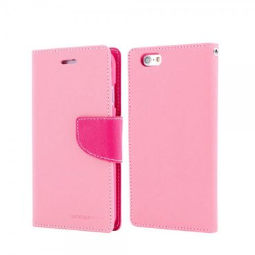 Mercury Goospery - Handy Cover für Samsung Galaxy S6 Edge Plus - Handyhülle aus Leder - Fancy Diary Series - pink/rosa