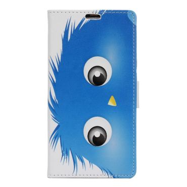 Huawei Y6 II/Honor 5A Handyhülle - Case aus Leder - mit Standfunktion - blaues, haariges Monster