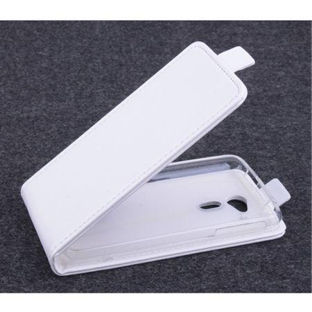Acer Liquid Z4 Handyhülle - Crazy Horse Leder Flip Case - magnetisch und vertikal - weiss