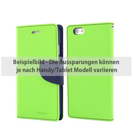 Goospery - Samsung Galaxy Tab 4 7.0 Hülle - Tablet Bookcover - Fancy Diary Series - lime/navy