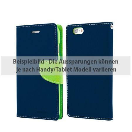 Goospery - Samsung Galaxy Tab A 9.7 Hülle - Tablet Bookcover - Fancy Diary Series - navy/lime