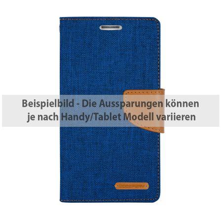 Mercury Goospery - Flipcase Hülle für Samsung Galaxy S5 - Hülle aus Leder/Stoff- Canvas Diary Series - blau/camel