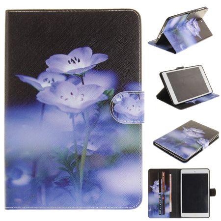 Hülle für iPad Air 2 - Cover aus Leder - mit Standfunktion - purpurne Blumen