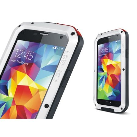 Love Mei - Samsung Galaxy S5 - Ultrarobuste Metall Hülle - Powerful Series - weiss