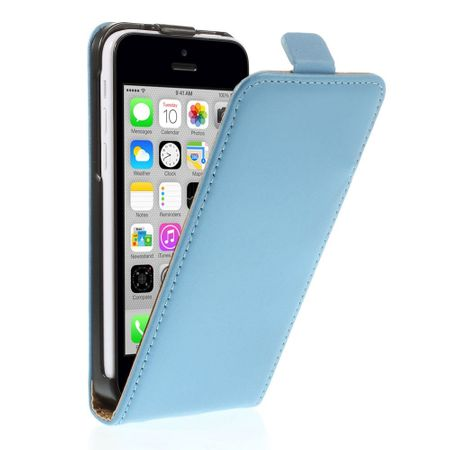 Handyhülle für iPhone 5C - Flip Case aus echtem Spaltleder - vertikal - blau