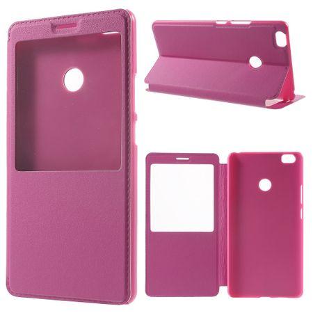 xiaomi mi max handyh lle case aus leder plastik mit mittelgrossem fenster rosa. Black Bedroom Furniture Sets. Home Design Ideas
