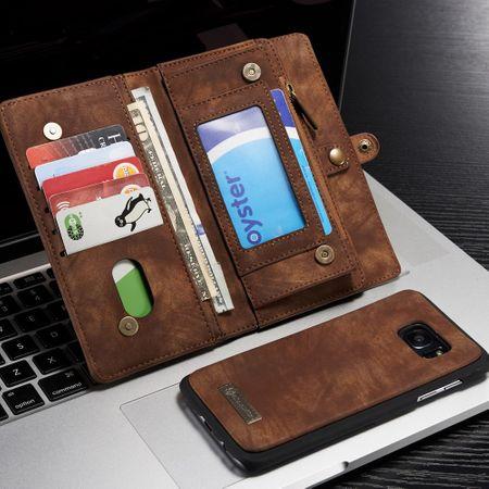 Caseme - Handyhülle für Samsung Galaxy S7 Edge - aus Plastik/Spaltleder - Retrolook - kaffeefarben