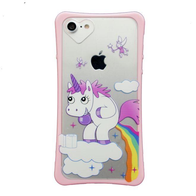 MU Style iPhone 8 / 7 Case - Transparente Plastik Hülle mit farbigem Rand - Einhorn Wolkenkacki
