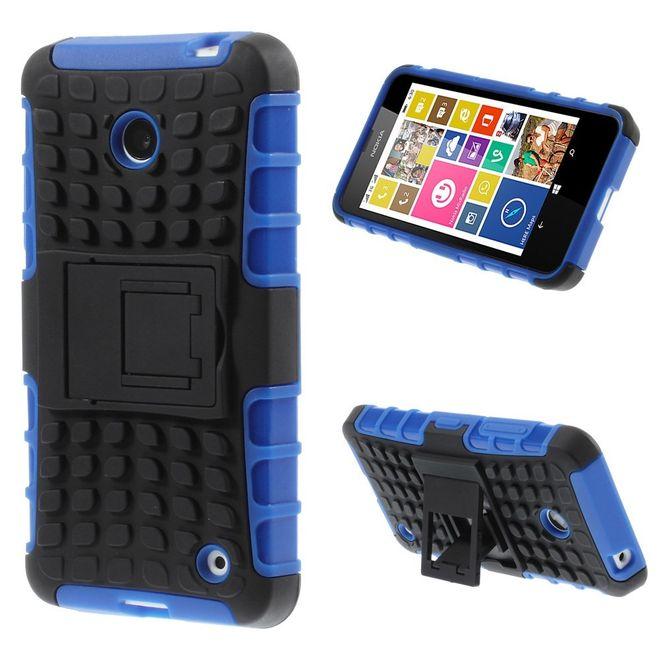 MU Classic Nokia Lumia 630/635 Hülle - Case aus Hart- und TPU Plastik - mit Kickstand - blau