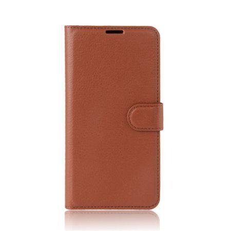 Handy Case für Samsung Galaxy Xcover 4 - Hülle aus Leder - mit Litchitextur und Standfunktion - braun