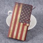 Sony Xperia XZ Premium Bookcover - Hülle aus Leder - mit Standfunktion - USA Flagge im Retrolook