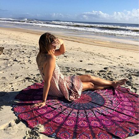 Strandtuch Picknickdecke mit Mandala Muster - 150cm Durchmesser - rosa/rot