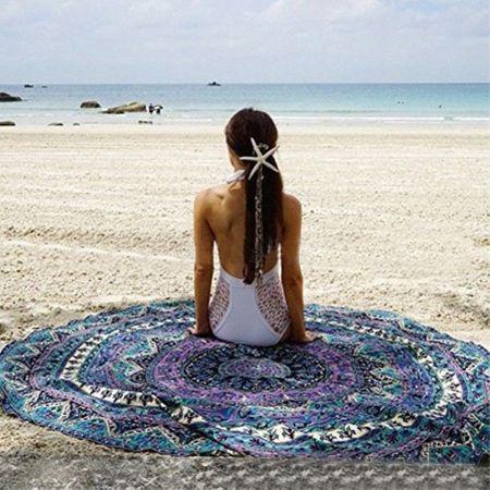 Strandtuch Picknickdecke mit Mandala Muster - 150cm Durchmesser - blau/purpur