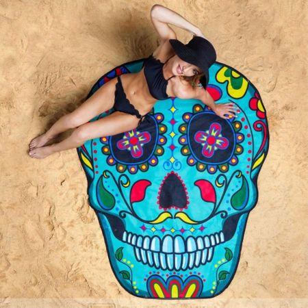 Strandtuch Badetuch mit Muster - ca. 150cm Durchmesser - Zucker Skull