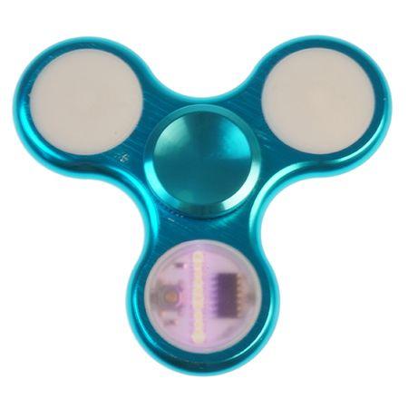 Hochwertiger Alu Metall Fidget Finger Spinner mit LED Laufschrift - blau