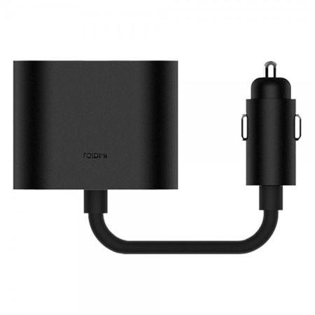 Xiaomi - Roidmi Auto Zigarettenanzünder Splitter - 1 zu 2 - 35cm Kabellänge - schwarz