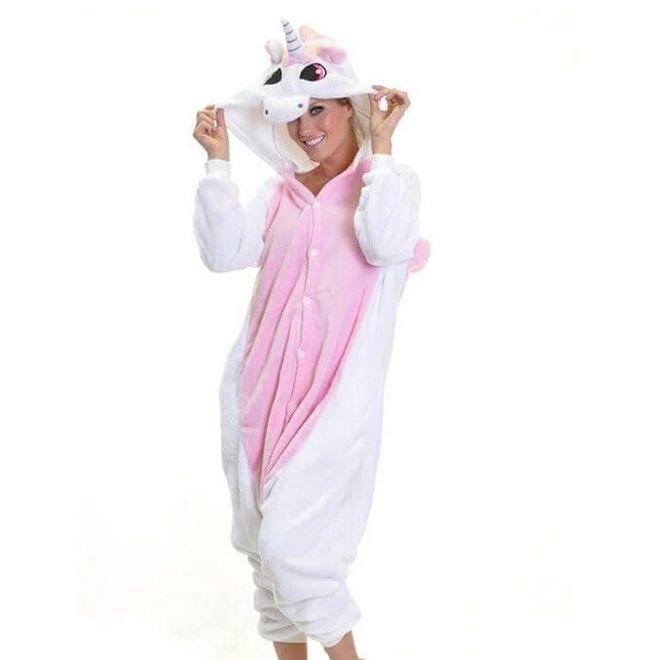 MU Classic Einhorn Kostüm - Onesie Einhorn Pyjama für Frauen Grösse M - weiss/rosa