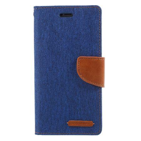 Goospery - Handyhülle für iPhone XS / X - Bookcover - Canvas Diary Series - blau/camel