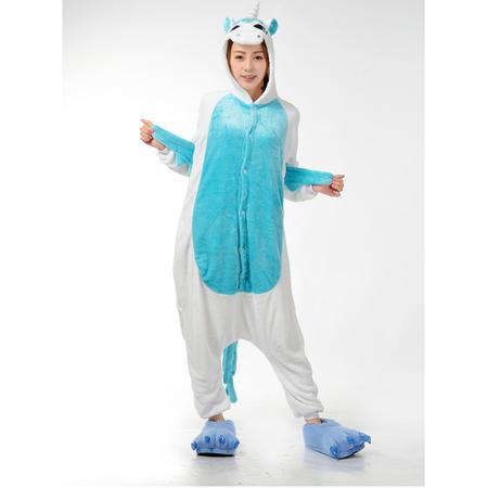 Einhorn Kostüm - Onesie Einhorn Pyjama für Frauen Grösse L - weiss/blau