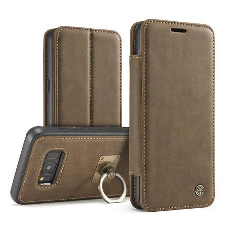 Caseme - Samsung Galaxy S8 Plus Hülle - Case aus Leder - mit abnehmbarem Backcover und Fingerring - kaffeefarben